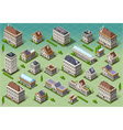 Set of isometric european buildings vector