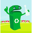 Funny recycling bin holds a glass bottle vector