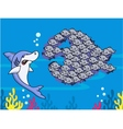Shark and group of fish vector