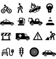 Traffic icons black on white vector
