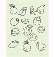 Freehand drawing fruit on a graph paper vector