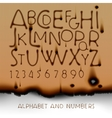 Vintage alphabet and numbers on burned out paper vector