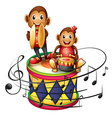 Two monkeys above a big drum vector