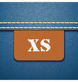 Xs size clothing label - vector