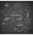 Handdrawn teatime set on black chalkboard vector