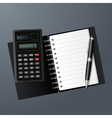 Open notebook calculator and pen vector