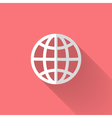 White globe icon over pink vector