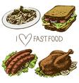Hand drawn fast food set vector