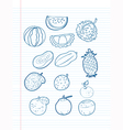 Freehand drawing fruit on a sheet vector