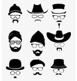 Hats with sunglasses and mustache vector