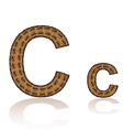 Letter c is made grains of coffee isolated on whit vector
