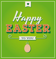 Happy easter card with retro vintage typography vector