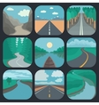 Travel icons set landscapes vector
