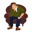 Cartoon man in green jacket sitting in armchair vector
