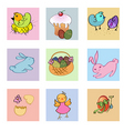 Funny easter icons vector