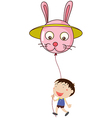 A kid with a bunny balloon vector