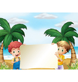 Two male kids holding an empty signboard vector