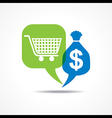 Shopping cart and dollar symbol in message bubble vector