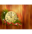 Holiday background with tree branches and clock vector