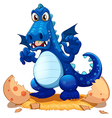 A newly hatched blue dragon vector