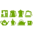 Green set teapot and cup vector