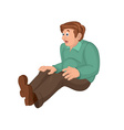 Cartoon man in green top and brown pants sitting vector