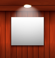 Empty frame on wooden wall lamp illuminated - vector