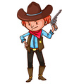 A cowboy with a gun vector