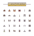 Colored landmark line icons vector