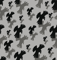 Seamless background with pairs of the flying crows vector