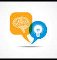 Brain and light-bulb in message bubble vector