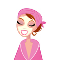 Spa facial girl wearing pink bath robe vector