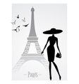 Fashionable lady in front of eiffel tower vector