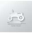 Farm tractor cut paper background vector