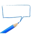 Blue speech bubble drawn with pencil vector