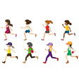 Faceless kids jogging vector