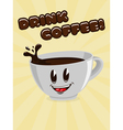 Cute cup of coffee with a call to drink coffee vector