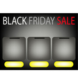 Three square label on black friday sale background vector