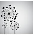 Black dandelion with hearts vector