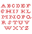 Embroidered stitch alphabet all latters vector