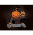 Scarecrow with a pumpkin head vector