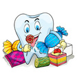 A tooth with candies vector
