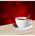 Cup of coffee red bokeh vector