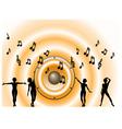 Orange music background waves vector
