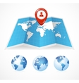 Map icon and globe pin pointer vector