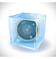 Ice cube with clock vector