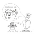 Cartoon male dressed in grilling attire cooking vector