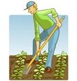 Man digging spring soil with shovel vector