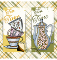 Set of hand drawn tea time cards vector