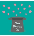 Magic black hat with flying pink hearts flat vector